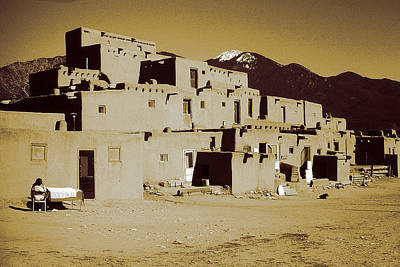 Photograph - Historic Taos Pueblo New Mexico by Art America Gallery Peter Potter
