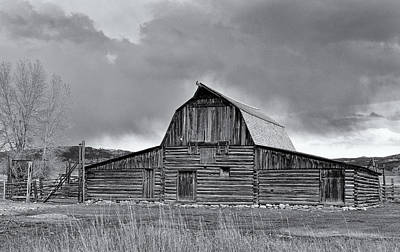 Photograph - Historic Timber Barn In Black And White by Nicholas Blackwell