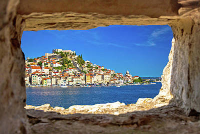 Photograph - Historic Town Of Sibenik Waterfront View Through Stone Window by Brch Photography