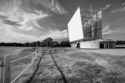 Photograph - Historic Tulsa Admiral Twin Drive-in Black And White by Gregory Ballos