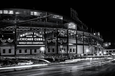 Illuminated Photograph - Historic Wrigley Field by Andrew Soundarajan