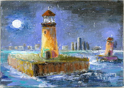 Painting - Historical 1859 South Channel Lights Full Moon by Bernadette Krupa