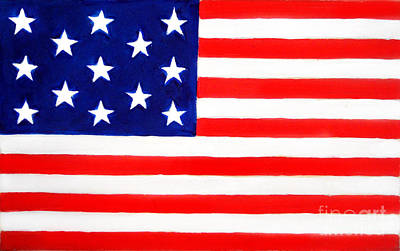 Betsy Ross Painting - Historical American Flag With 13 Stars by Sofia Metal Queen