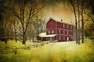 Photograph - Historical Bowen's Cider Mill During Winter by Randall Nyhof
