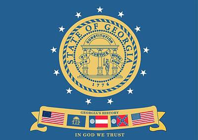 Historical Flag Of Georgia Print by American School