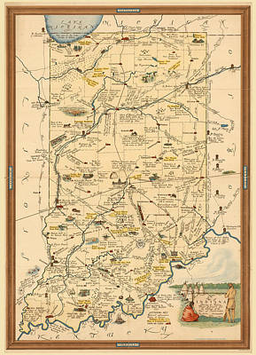 Royalty-Free and Rights-Managed Images - Historical Illustrated Map of Indiana - Cartography - Vintage Map by Studio Grafiikka