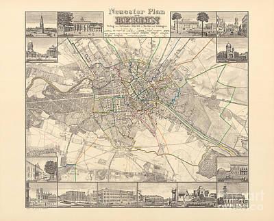 Berlin Drawing - Historical Map Of Berlin, 1838 by German School