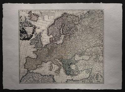 Drawing - Historical Map Of Europe by Homann Johann Baptista