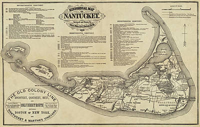 Historical Map Of Nantucket From 1602-1886 Art Print