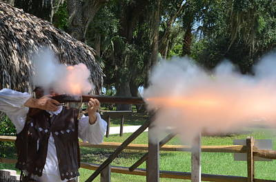 Photograph - Historical Reenactor Firing His Weapon by Richard Bryce and Family
