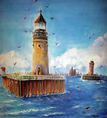 Painting - Historical South Channel Lights Lake St. Clair  by Bernadette Krupa