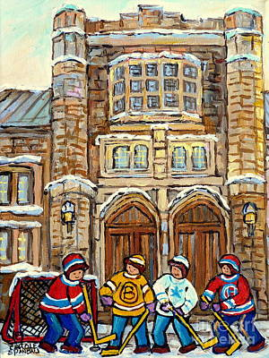 Painting - Historical Victoria Hall Westmount Winterscene Painting For Sale Montreal Hockey Art C Spandau Art   by Carole Spandau