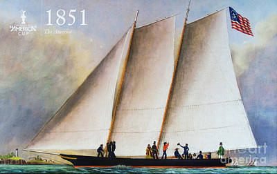 Sausalito Photograph - History 1851 America's Cup by Chuck Kuhn