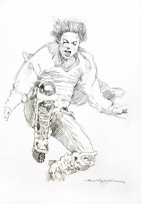 Icon Drawing - History Concert - Michael Jackson by David Lloyd Glover