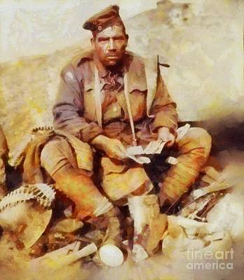 Trench Painting - History In Color. Australian Soldier Pvt Barney Hines Wwi by Sarah Kirk