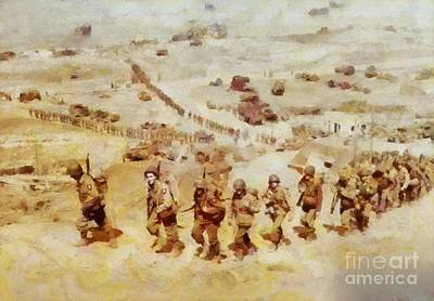 Trench Warfare Painting - History In Color. D Day, Omaha Beach, Wwii by Sarah Kirk