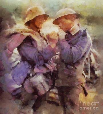 Trench Warfare Painting - History In Color. Wwi Truce In The Trenches by Sarah Kirk