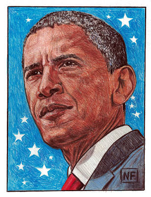 Obama Drawing - History In Our Lifetime - The Presidency Of Barack Hussein Obama by Neil Feigeles