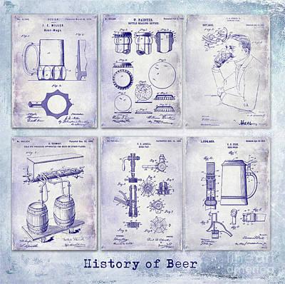 Americana Micro Art Photograph - History Of Beer Patents Blueprint by Jon Neidert