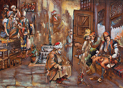 Painting - History Of Coffee Map Detaile .first Coffeehouse In The World by Vali Irina Ciobanu