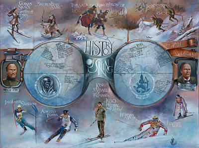 Painting - History Of Skiing Map by Vali Irina Ciobanu