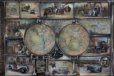 Painting - History Of The Automobile From Leonardo Da Vinci Drawing To First Formula 1 Race Map On Leatheder by Vali Irina Ciobanu