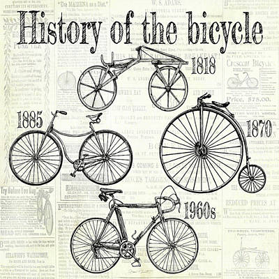Digital Art - History Of The Bicycle A by Jean Plout