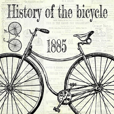 Digital Art - History Of The Bicycle C by Jean Plout