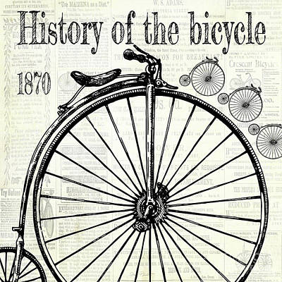 Digital Art - History Of The Bicycle D by Jean Plout