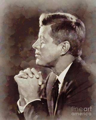 History Portraits. John F. Kennedy, President Of The Usa By Sarah Kirk Art Print by Sarah Kirk