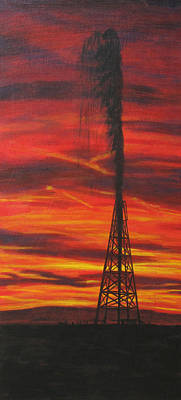 Oil Rig Painting - Hit Oil by Karen  Peterson