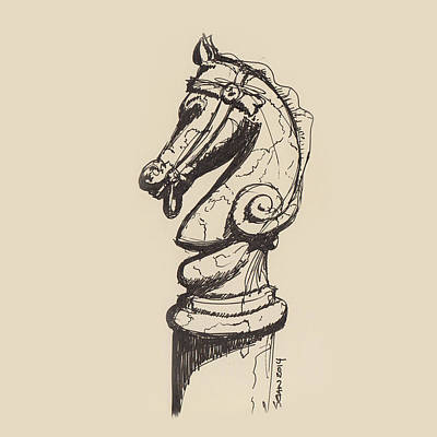 Drawing - Hitching Post by Sean McMenemy