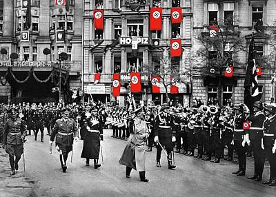 Hitler With Goering And Himmler Marching In Munich Germany C.1934-2016  Art Print