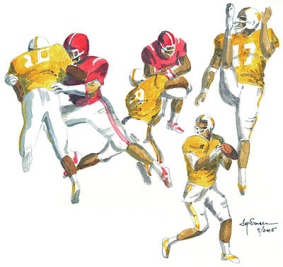 University Of Alabama Painting - Hits, Passes, Kicks by Jim Stovall