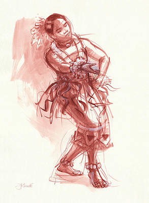 South Pacific Drawing - Hiva, Dancer Of Tonga by Judith Kunzle