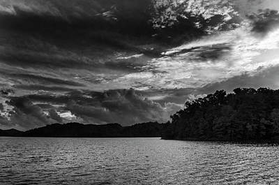Dramatic Photograph - Hiwassee Lake From Hanging Dog Recreation Area In Black And Whit by Greg Mimbs