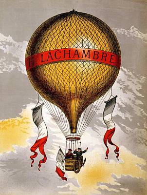 Royalty-Free and Rights-Managed Images - H.Lachambre - Two Men Riding in the Basket - Retro travel Poster - Vintage Poster by Studio Grafiikka