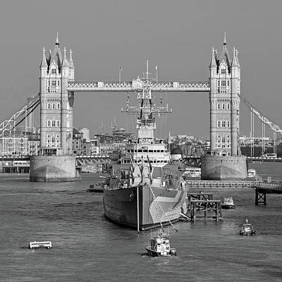Photograph -  Hms Belfast And The Tower Bridge by Digital Photographic Arts