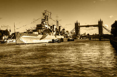 Photograph - Hms Belfast And Tower Bridge 2 In Sepia by Chris Day