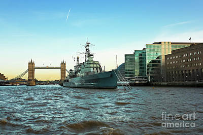 Photograph - Hms Belfast And Tower Bridge London by Terri Waters