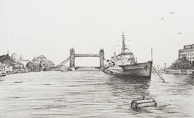 River View Drawing - Hms Belfast On The River Thames by Vincent Alexander Booth