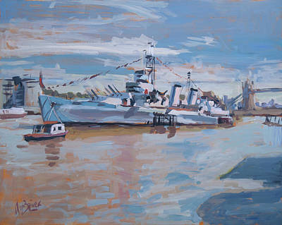River Painting - Hms Belfast Shows Off In The Sun by Nop Briex