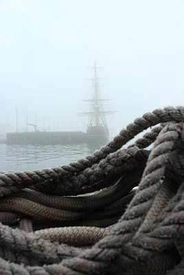 Hms Bounty In The Eastport Fog Art Print by Rick  Blood