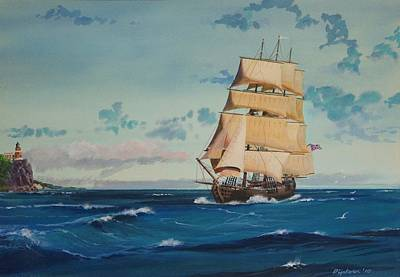 Hms Bounty On Lake Superior Art Print by Werner Pipkorn