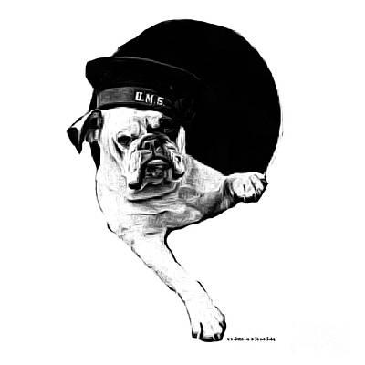 Pencil Artwork Drawing - Hms Bulldog by Edward Fielding