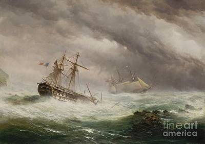 Endymion Painting - Hms Endymion Rescuing A French by MotionAge Designs