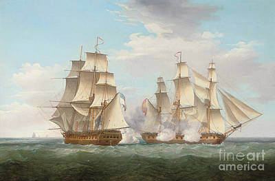 Hms Ethalion In Action With The Spanish Frigate Thetis Off Cape Finisterre Print by Thomas Whitcombe