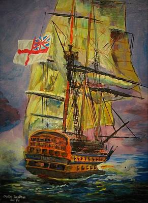 Painting - Hms Hero by Mike Benton
