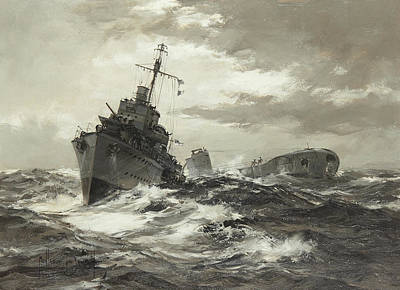Sphere Painting - H.m.s. by Montague Dawson