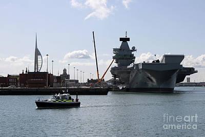 Photograph - Hms Queen Elizabeth At Portmouth Harbour by Julia Gavin